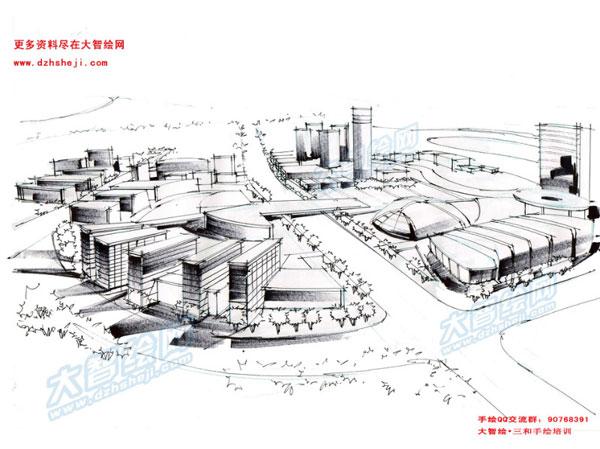 城市规划手绘表现——步骤分解图