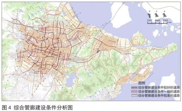 在对市政管线与建设条件的赋值进行叠加分析后,将目标道路区分为有