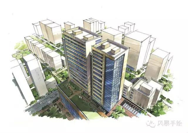 【借鉴】城市规划鸟瞰图手绘设计案例