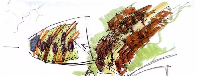 手绘森林彩铅画